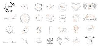 Grande insieme della raccolta del logos del monogramma di nozze, dei modelli minimalistic e floreali moderni disegnati a mano per illustrazione di stock