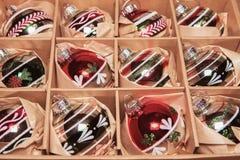 Grande insieme delle bagattelle di lusso di vetro del Winterberry Retro immagine disegnata Fotografia Stock