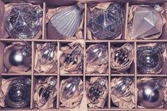 Grande insieme delle bagattelle di vetro d'argento di lusso Fotografia Stock