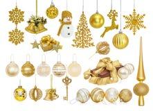 Grande insieme delle bagattelle dorate del nuovo anno di Natale Immagine Stock Libera da Diritti