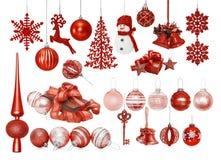 Grande insieme delle bagattelle rosse del nuovo anno di Natale Fotografia Stock Libera da Diritti