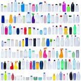 Grande insieme delle bottiglie di plastica Fotografia Stock