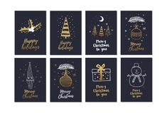 Grande insieme delle cartoline di Natale creative con la festa disegnata a mano degli elementi dell'oro illustrazione vettoriale