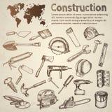 Grande insieme delle icone della costruzione Immagini Stock Libere da Diritti
