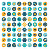 Grande insieme (81) delle icone piane del computer Fotografia Stock