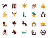 Grande insieme delle icone piane occidentali di vettore Fotografia Stock Libera da Diritti