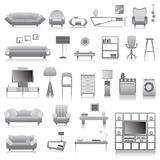 Grande insieme delle mobilie moderne Fotografie Stock