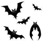 Grande insieme delle siluette nere dei pipistrelli Immagini Stock