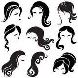 Grande insieme di capelli neri che designa per la donna Immagini Stock Libere da Diritti