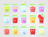Grande insieme di limonata colorata con le emozioni Copertura verde chiusa con paglia Bevanda di estate Icona emozionale, emotico Immagini Stock Libere da Diritti