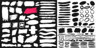 Grande insieme di pittura nera, spazzola dell'inchiostro, spazzola Progettazione sporca, scatola, struttura o fondo dell'elemento Fotografia Stock Libera da Diritti