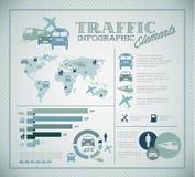 Grande insieme di vettore degli elementi di Infographic di traffico Fotografia Stock Libera da Diritti