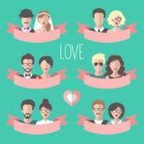 Grande insieme di vettore delle carte romantiche del biglietto di S. Valentino con il nastro, il cuore, il ragazzo e la ragazza p Fotografie Stock Libere da Diritti
