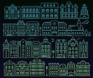 Grande insieme di vettore di architettura urbana differente alla notte illustr Fotografia Stock Libera da Diritti