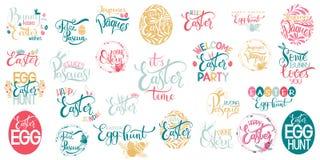 Grande insieme felice dell'iscrizione di Pasqua illustrazione vettoriale