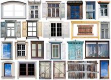 Grande insieme isolato delle vecchie e finestre moderne Immagine Stock Libera da Diritti