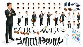 Grande insieme isometrico dei gesti delle mani e dei piedi di 3D di uomo d'affari del carattere Crei il vostro impiegato di conce illustrazione vettoriale
