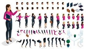 Grande insieme isometrico dei gesti delle mani e dei piedi di una signora di affari della donna 3d Crei il vostro proprio caratte royalty illustrazione gratis