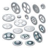 Grande insieme isometrico delle ruote di ingranaggio Tecnologia futuristica di vettore Ciao-tecnologia dell'illustrazione, ingegn royalty illustrazione gratis