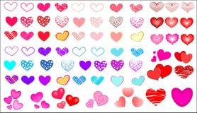 Grande insieme mega eccellente dei cuori per progettazione per il giorno del ` s del biglietto di S. Valentino royalty illustrazione gratis