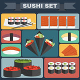 Grande insieme variopinto dell'icona dei sushi Immagine Stock Libera da Diritti
