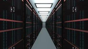 Grande interior da sala do servidor no datacenter, a tecnologia da telecomunicação da rede da Web e do Internet, o armazenamento  ilustração stock