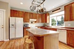Grande interior de madeira clássico da cozinha com assoalho de folhosa. Fotografia de Stock