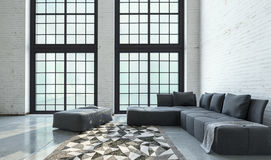 Grande interior de plano aberto espaçoso da sala de visitas Imagens de Stock Royalty Free