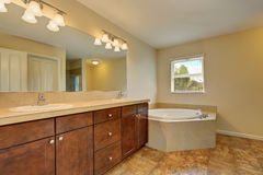 Grande interior do banheiro com o assoalho de canto da banheira e do mármore fotos de stock
