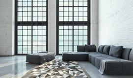Grande interno aperto spazioso del salone di piano royalty illustrazione gratis