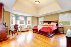 Grande interno della camera da letto principale con i alls ed il pavimento di legno duro verdi Immagini Stock Libere da Diritti