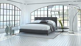 Grande interno luminoso spazioso della camera da letto immagine stock
