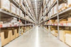 Grande inventario Azione delle merci del magazzino per trasporto logistico fotografia stock