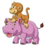 Grande ippopotamo e scimmia sveglia illustrazione vettoriale