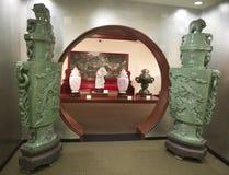 Grande Jade Chinese Statues au musée de Belz Images libres de droits