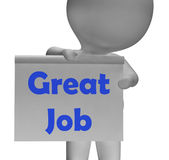 Grande Job Sign Means Well Done e elogio ilustração stock