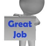 Grande Job Sign Means Well Done ed elogio illustrazione di stock