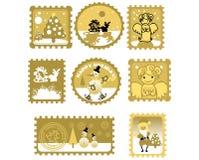 Grande jogo de selos de porte postal Fotos de Stock Royalty Free