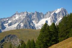 Grande Jorasses e dente gigante, blanc del mont Immagini Stock
