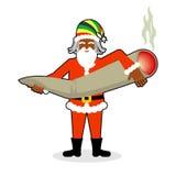 Grande junção ou spliff de Rasta Santa Claus Droga de fumo cheerful ilustração royalty free