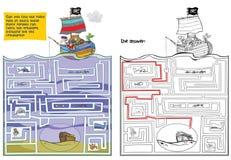 Grande labirinto com piratas e tesouro ilustração stock