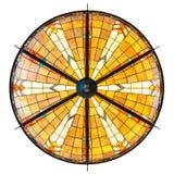 Grande lampada illuminata del soffitto di art deco isolata su bianco Immagine Stock