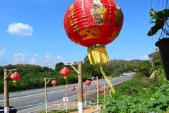 Grande lanterna chinesa vermelha imagem de stock