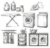 Grande lavaggio Oggetti della lavanderia Schizzo di vettore Fotografie Stock Libere da Diritti