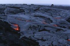 Grande lave de refroidissement de parc national de volcans d'île des Etats-Unis Hawaï Image libre de droits