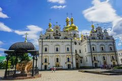 Grande Lavra Uspenskiy Sobor Cathdral Frontal vue de Kiev photos libres de droits