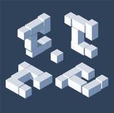 Grande lettre c de paquet dans 3d le style isométrique, construction avec les cubes blancs avec des ombres Collection de vecteur illustration libre de droits