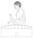 Grande linea in bianco e nero di seduta Art Illustration della statua di Buddha Fotografie Stock Libere da Diritti