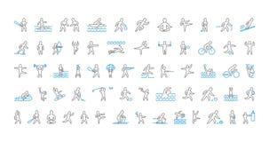 Grande linha grupo de ícones dos esportes Símbolo linear do vetor do sportsme Imagens de Stock Royalty Free