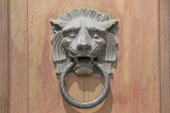 Grande Lion Head Door Knocker no fundo de madeira da porta Fotos de Stock Royalty Free
